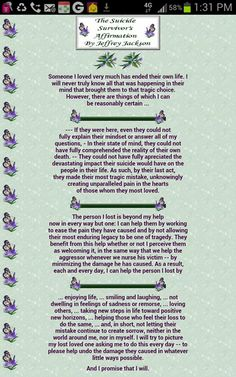 The Suicide Survivor's Affirmations. Needed this today and t just appeared on the feed!