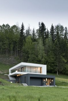 Bauhaus inspired house on green lawn with Woods of Tall Trees.