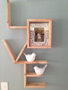 DIY Pallet Love Wall Shlelf, http://hative.com/cool-letter-shaped-shelves/