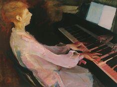 """Diese """"Dame am Klavier"""" malte Willy Kriegel im Jahr 1928 Repro: Städtische Sammlungen Freital"""