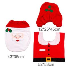 Santa Claus Rug Toilet Seat Cover Bathroom Set Snowman Merry Christmas Decoration Fancy Supplies Package 1 X Feet Pad
