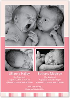 Twins Birth Announcements - Twin Stripes: Cosmopolitan by Tiny Prints
