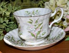 Vintage Royal Albert Springtime Series, Lily of the Valley, Gold Gilt, Fine Bone China Tea Cup and Saucer, England by natalie-w