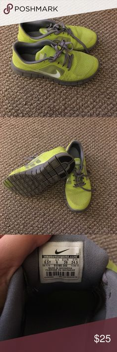 Nike running sneakers Only used once bought them a size to small. They are a boys 6.5 very comfortable. Nike Shoes Athletic Shoes