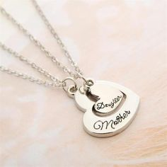 2pcs Matching Necklace Set Mother Daughter Mom Family Hearts Love Silver Tone #Unbranded #NecklaceSet