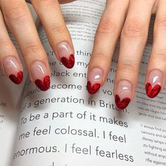 Perfect heart tipped Valentine's nails <3