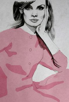The girl in the pink dress.