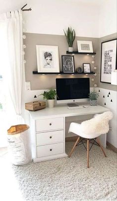 study room small office layouts Bohemian bedroom … – Home office design layout Bedroom Decor For Teen Girls, Room Ideas Bedroom, White Desk Bedroom, Small Room Design Bedroom, Teenage Room Decor, Teen Bedroom Designs, Office In Bedroom Ideas, White Desk Decor, Ikea Bedroom