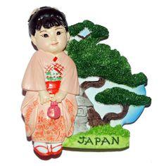 PLACES I'VE BEEN TO'S MAGNET - Resin Fridge Magnet: Japan. Japanese Girl in Kimono - $6.