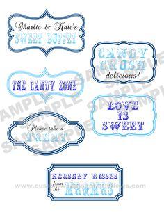 #Candy #Buffet #Labels - Blues $5.00 www.customweddingprintables.com