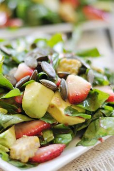 Strawberry, Avocado, Chard Salad with Tempeh Bacon, Vegan + Gluten-Free - The Colorful Kitchen