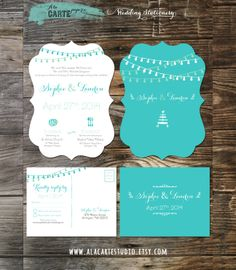 Die Cut Ornate Tiffany Blue Teal Wedding Invitation Suite