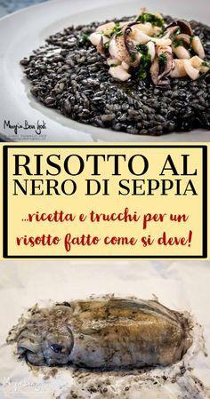 Risotto al nero di seppia – Shellfish Recipes Italian Cooking, Italian Recipes, Spaghetti Salad, Shellfish Recipes, Cuttlefish, Black Food, Rice Dishes, Seafood, Healthy Recipes