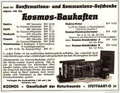 Original-Werbung/ Anzeige 1936 - KOSMOS BAUKASTEN - ca. 140 x 110 mm
