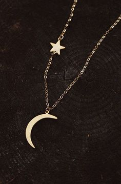 dainty vermeil moon and star necklace