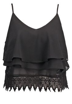 Glamorous Bluzka top waterfall czarny black
