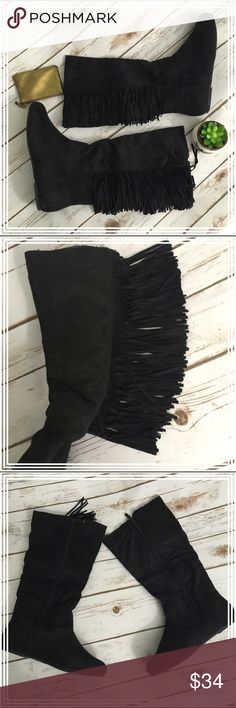 "NWT black suede fringe boots Never worn, these adorable black suede-like boots are approx. 15"" tall and approx. 16"" around the shaft. They have a full zipper on the inside, and the cute fringe is about 4"" long. The fringed portion goes from the top of the shaft down about 9.5"" (stops above the ankle area). Shoes Winter & Rain Boots"