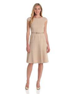 Anne Klein Womens Cap Sleeve Scoopneck Solid Dress, Oak, 10