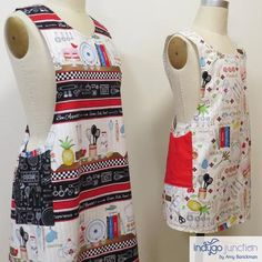 Crossback Reversible Adult and Child Apron Pattern : Crossback Reversible Apron sewing pattern by Indygo Junction – IndygoJunction Child Apron Pattern, Vintage Apron Pattern, Vintage Sewing, How To Make Aprons, Grandma Crafts, Row By Row Experience, Roommate Gifts, Diy Fashion Accessories, Sewing Aprons
