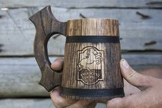 Prancing Pony Mug, Lord of the Rings Mug, Wooden Beer Mug, Tankard, Wooden Tankard, Wood Tankard, Beer Mug, Wood Mug, Groomsmen Gift, (20oz)