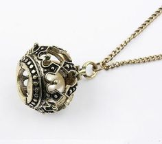 Fashion Imitation Pearl Crown Cage Bead Bronze Metal Necklaces N426