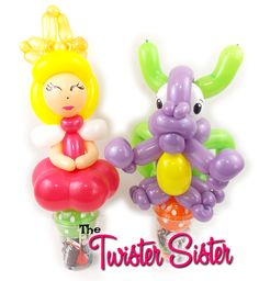 Princess and dragon balloon animals by Holly the Twister Sister.  These make perfect party favors!  Fill with your own treats/candy for the kids!