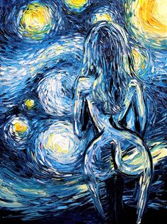 Nude Painting - Oil Painting - Starry Night - Abstract Nude oil on canvas by Aja huge 30x40 inches Ode to the Night Sky