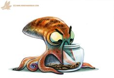 Daily Paint #986. Octopus vs. Cookie Jar (OA) by Cryptid-Creations Time-lapse, high-res and WIP sketches of my art available on Patreon (: