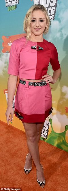 Colorful: Former Dance Moms star Chloe Lukasiak flashed her midriff in a red and pink skir...