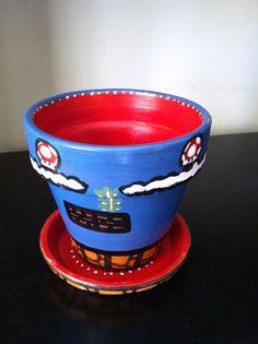Small Super Mario Pot by SarahMargaretG on Etsy, $20.00 Indoor Playhouse, Super Mario Party, Play Houses, Flower Pots, Shower Ideas, Planter Pots, Gardens, Baby Shower, Random
