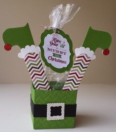 """Have your """"Elf"""" a Merry Little Christmas DIY treatbox from papermadeprettier and Stampin' Up. FREE tutorial on my blog: http://www.papermadeprettier.blogspot.com/2013/12/most-clever-gift-packaging-i-have-seen.html"""