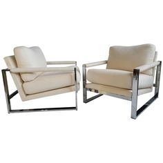 Pair of Chrome and Fabric Lounge Chairs, Designed by Milo Baughman | From a unique collection of antique and modern lounge chairs at https://www.1stdibs.com/furniture/seating/lounge-chairs/