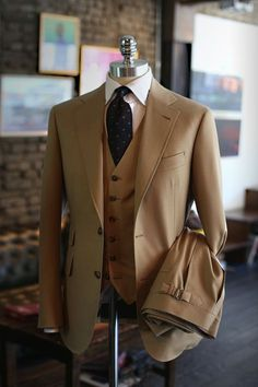 tailorablenco Beige three piece suit ready for pick up. Fabric by Holland & Sherry.