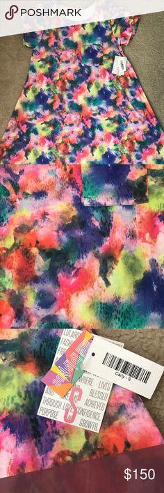 LuLaRoe S Carly Tie Dyed BNWT Unicorn beautiful tie dyed Carly. Very HTF. Smoke free and pet free home. LuLaRoe Dresses Asymmetrical