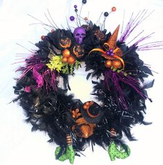 Whimsical Halloween Black Feather and Faux by FantasyFloralsbyKay Whimsical Halloween, Black Feathers, Wreath Ideas, Centerpieces, Wreaths, Floral, Holiday, Decor, Crown Cake