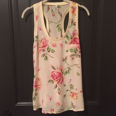 """Joie Rose Print Porcelain Alicia Silk Top Amazing condition! No stains, marks, pulls.   This floral silk tank features solid ribbed banding at the scoop neck, racer back, and arm openings. Patch bust pocket and shirttail hem. 2.25"""" straps. Size M. Purchased from shopbop for $138.   * Fabrication: Woven silk. * 100% silk. * Dry clean. * Imported. Joie Tops Tank Tops"""