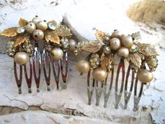 Vintage Wedding Comb Set Baroque Vintage Vendome by ElmPlace,