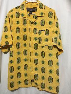 38b38e08 Mens M Tiki Hawiian Shirt BHPC #BeverlyHillsPoloClub #ButtonFront Hawiian  Shirts, Beverly Hills Polo