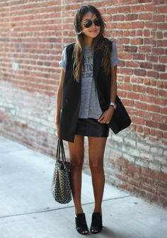 Tuxedo Vest  Madewell Tee  Vintage Leather skirt  Zara Mules  3.1 Phillip  Lim d73b6b23ca451