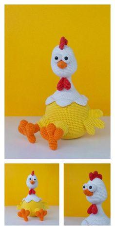 Crochet Placemat Patterns, Crochet Amigurumi Free Patterns, Crochet Flower Patterns, Free Crochet, Crochet Birds, Easter Crochet, Crochet Crafts, Chicken Pattern, Crochet Chicken