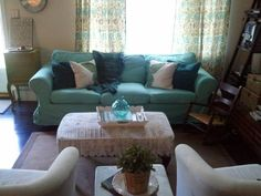 My Colorful Cottage: RIT Dye & My Ikea Ektorp Sofa - absolutely <3 the color combination