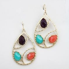"As seen on ShopDesignSpark.com  -brass, faceted multi-color stones  -2""L, 1""W  -imported"