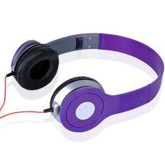 Purple Headphone Earphone Earbuds Stereo for Apple iPod iPhone PC Bluetooth Stereo Headset, Bluetooth Headphones, Beats Headphones, Over Ear Headphones, Red Headband, Mp5, Samsung Galaxy S5, Iphone, Purple