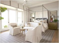 Looking for Transitional Bedroom and Master Bedroom ideas? Browse Transitional Bedroom and Master Bedroom images for decor, layout, furniture, and storage inspiration from HGTV. Bedroom Couch, Bedroom Seating, Gray Bedroom, Home Bedroom, Master Bedroom, Bedroom Ideas, Serene Bedroom, Canopy Bedroom, Bedroom Doors