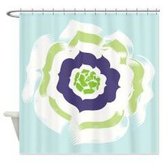 Island Bloom Blue Shower Curtain> Island Flower Blue> DrapeStudio