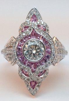 Fleur-De-Lis Art-Deco Diamond Engagement Ring in 14K White Gold.