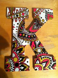 Colorful personalized wood letterinitial door hanger great handpainted wooden letter k by notsoplainjaynes on etsy 4000 spiritdancerdesigns Image collections