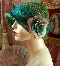 1920'S VINTAGE STYLE LARGE SIZE GREEN GOLD & TAN PEACOCK CLOCHE FLAPPER HAT