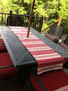 No Sew Patio Tablecloth With Umbrella Hole | Patios, Patio Table And  Outdoor Tables