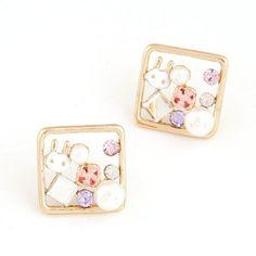 Cartoon Rabbit Decorated Square Shape Design Alloy Stud Earrings